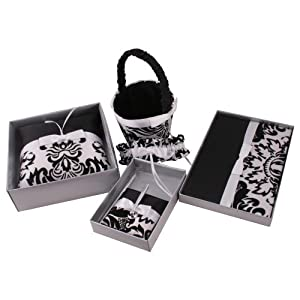 Black Damask Wedding Set: Guest Book, Pillow, Basket