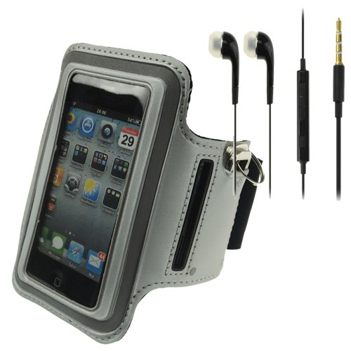 Silver Workout Running Sports Gym Armband Case Cover For Iphone 4 / 4S / Ipod Touch4 + Black Headphone With Mic