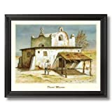 Mexican Desert Mission Spanish Landscape Home Decor Wall Picture Black Framed Art Print