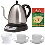 Bonavita 1-Liter Variable Temperature Digital Electric Gooseneck Kettle + Coffee Filter Cone Size 4 + Melitta Natural Brown Basket Coffee Filter #4 - 100Ct + Two 13 Oz White Tiara Cappuccino Cups