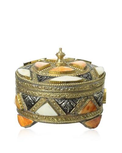Badia Design Metal & Bone Round Jewelry Box, Orange/White As You See