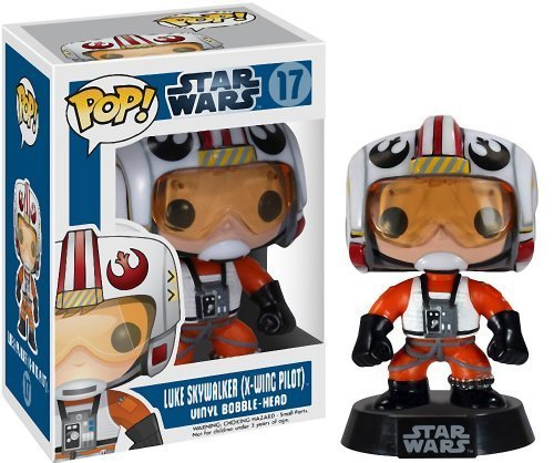 "Luke Skywalker (X-Wing Pilot): ~3.75"" Funko POP! Star Wars Vinyl Bobble-Head Figure w/ Stand"