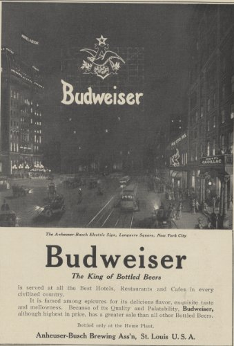 1906 Ad Budweiser Beer Shows Anheuser Busch Electric Sign Longacre Square NYC - Original Print Advertisement