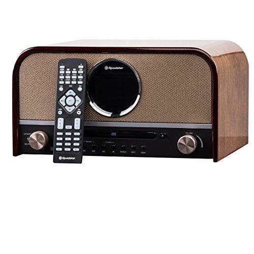 HRA-1750D+BT DAB Nostalgie Retro-Radio mit CD / MP3 Player im Holzgehäuse, 80 Watt Musikleistung (Bluetooth, DAB / DAB+, RDS, USB, SD-Karten-Leser, AUX-In), braun