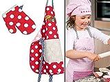 Kochmütze oder Küchenschürze & Topfhandschuh für Kinder - erhältlich in 4 Varianten und einer Einheitsgröße - passend für Kinder im Alter von 3-6 Jahren, Küchenschürze & Topfhandschuh, Pizza Chef