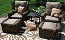 Hot Sale The Giovanna Collection 2-Person All Weather Wicker/Cast Aluminum Patio Furniture Deep Seating Chat Set