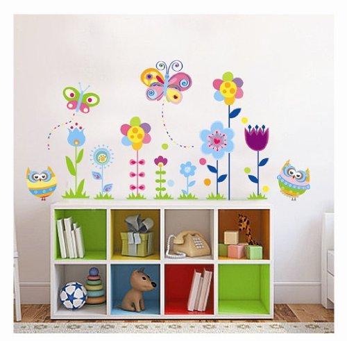 Createforlife Home Decor Vinyl Wall Sticker Cartoon Flowers Kids Room Decal Art Mural Wallpaper