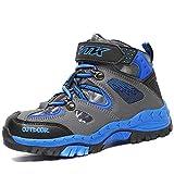 AShion Kids Hiking Shoes Walking Snow Boots Antiskid Steel Buckle Sole Winter Outdoor Climbing Cotton Sneaker