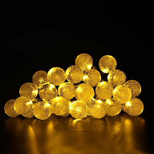 lederTEK Solar Outdoor String Lights 19.7ft 30 LED Warm White Crystal Ball Solar Powered Globe Fairy Lights for Garden Fence Path Landscape Decoration (30 LED Warm White)