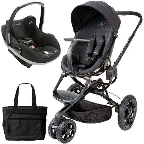Quinny CV078BFO Moodd Prezi Travel system with Diaper bag and car seat - Black Devotion