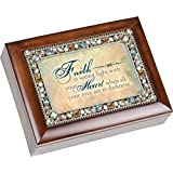 Faith Heart Inspirational Jewel Musical Music Jewelry Box With Dark Wood Finish Plays How Great Thou