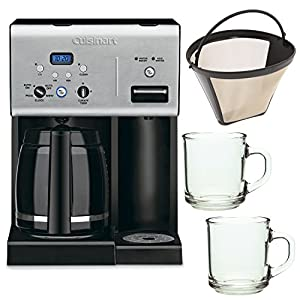 Cuisinart CHW-12 12-cup Programmable Coffee Maker w/ Gold Tone Basket Coffee Filter and 2 Pieces 10oz. ARC Handy Glass Coffe Mug