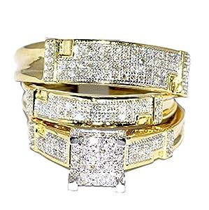 Yellow Gold Trio Wedding Set Mens Women Rings Real 0.5ct Diamonds Princess Pave