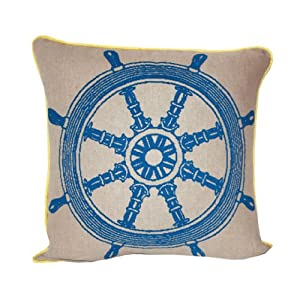 Room Service Nautical Collection Nautical Boat Wheel Pillow, 18-inch x 18-inch, Oatmeal Linen/Yellow/Blue