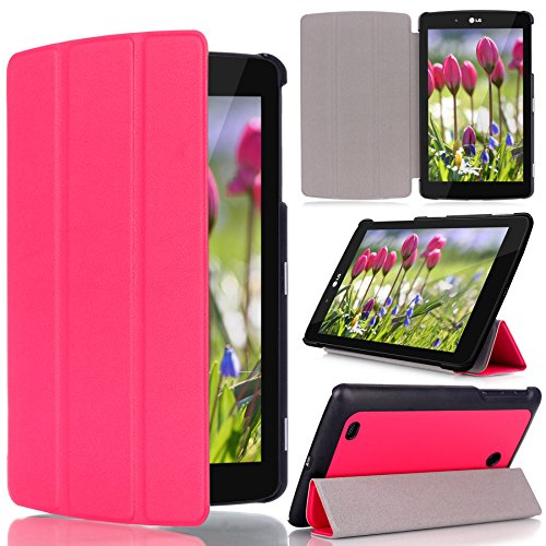 Click to buy LG G Pad 8.0 Case - Cellularvilla [Ultra Slim] Light Weight Smart shell PU Leather Flip Folding Stand Case Cover for LG G Pad V480 8 inch Tablet (Will NOT fit 2015 G Pad F 8.0 V495 V496) (Hot Pink) - From only $25.5