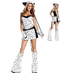 Ladies Dalmatian Dog Animal Bestival Fancy Dress Costume Outfit