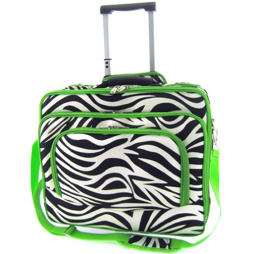 Rolling Zebra Phrasing Laptop Travel Case Briefcase Bag Green Embellish Black White