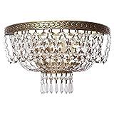 Plafonnier suspension style luxe baroque premium chic exceptionnel magnifique armature en métal plafonniers en cristal pour bas plafond, plafonnier salon ou chambre ampoules non-incl 3 x 60W E14 230 V...