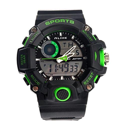 Foxnovo Alike Ak14101 Waterproof Mens Dual Time Sports Digital Quartz Wrist Watch With Date /Alarm /Stopwatch (Green)