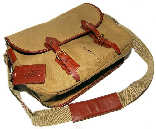 Polo Ralph Lauren Purple Label Mens Messenger Bag Canvas Leather Tan Brown