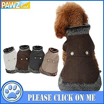 Pawz Road Dog Pet Cat Winter Warm Coat Jacket Woolen Clothes Fur Collar in 4 Colors 4 Sizes