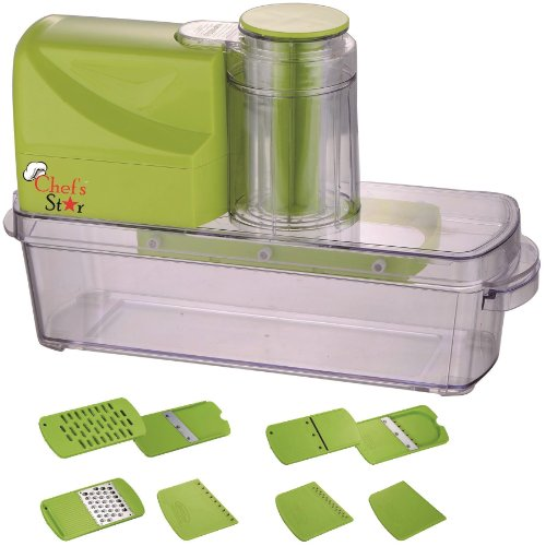 Chefs Star Automated Electric Mandoline Slicer And Grater With 5 Blades & 3 Graters For Fruits, Vegetables, And Cheeses