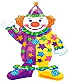 Custom, Fun & Cool {XXL Massive Huge Size 44 Inches - 3.6 Feet} 1 Unit of Helium & Air Inflatable Mylar Aluminum Foil Balloon w/ Happy Clown Design [in Bright Yellow, Teal, Purple, Green & Orange] by mySimple Products
