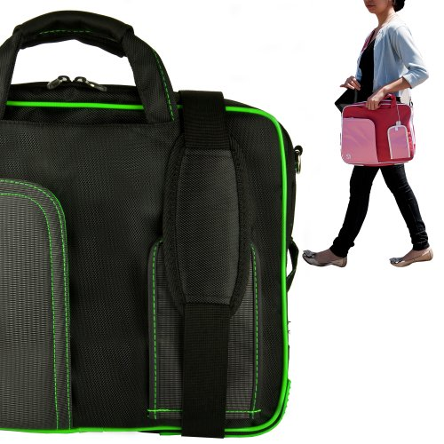 Stylish ASUS K53U 16 Inch Notebook Accessories Pindar Shoulder Bag with Removable Shoulder Strap in Jet Black with Toxic Green Trim
