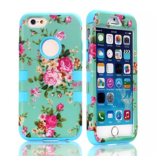 iPhone 6 Case, MOKOU Romantic Flowers Hybrid Impact Case Silicone Cover for iphone6 4.7Inch