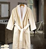 Simply Elegant Faccia dei Colori Mens Bathrobe & Slippers Set, 2 Pieces