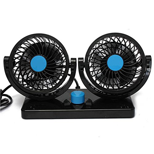 jhua 360 rotating free adjustment dual head car auto cooling air fan powerful quiet 2 speed. Black Bedroom Furniture Sets. Home Design Ideas