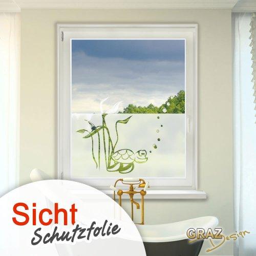 graz design sichtschutz fenster aufkleber milchglas effekt mit schildkr te motiv spar baumarkt. Black Bedroom Furniture Sets. Home Design Ideas