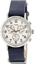 Timex Men's Weekender TW2P62100 Silver Leather Analog Quartz Watch