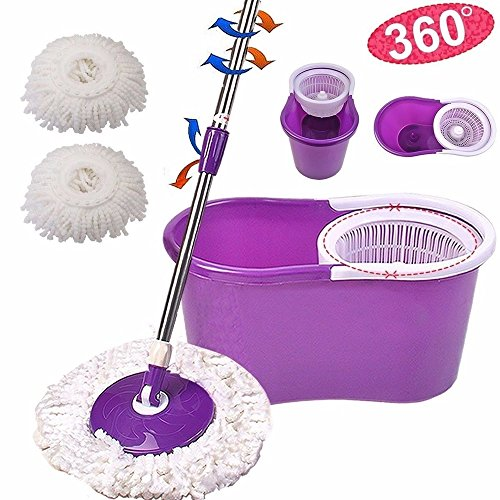 Mop Floor spin mob Easy Magic 2 Heads 360° Spin Spinning New Cleaner Rotating Head (Paint Roller Tray Inserts compare prices)