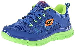 Skechers Kids Flex Advantage Shoe,Blue/Lime,1.5 M US Little Kid
