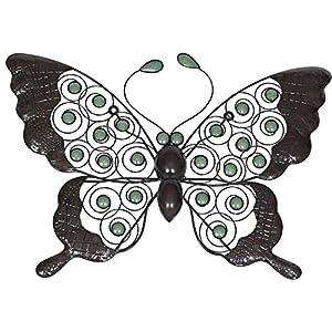 La Hacienda Xl Butterfly Handmade Metal Wall Art With Glow In The Dark Beads from La Hacienda