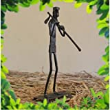 Chinhhari Arts Tribal Wrought Iron Tribal Man At Work ( Black, 15.875 Cm X 6.35 Cm X 5.08 Cm )