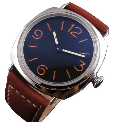 Fanmis Orange California Black Dail 6497 Mechanical Mens Womens Leather Strap Wrist Watch Hand Winding