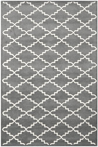 Safavieh Chatham Collection CHT721D Handmade Dark Grey and Ivory Wool Area Rug, 4 feet by 6 feet (4' x 6')