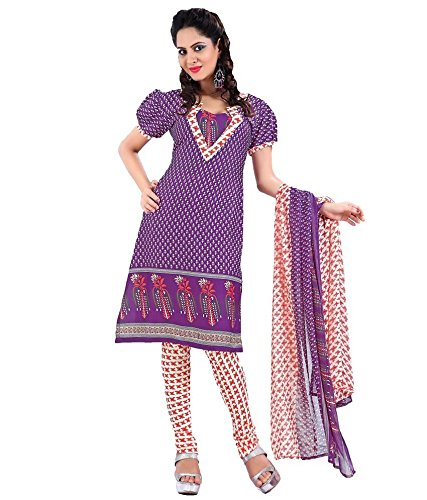 Vineberi Beautiful And Gorgeous Unstitched Printed Crepe Purple Salwar Suit Dress Material With Dupatta  available at amazon for Rs.399