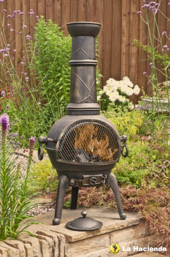 BRONZE 112CM HIGH CAST IRON CHIMINEA CHIMENEA CHIMNEA WITH BBQ GRILL