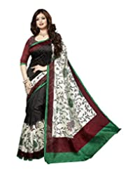 Divyaemporio Women Cotton Silk Self Print With Blouse Piece Sarees (V-13316 _Multi-Coloured _Free Size)