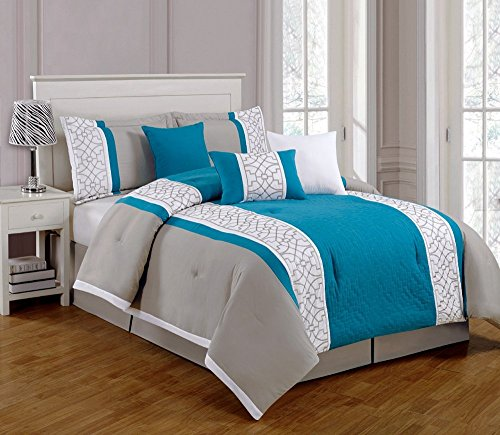 Fancy Collection 7Pieces Luxury Truquise, Grey And White Quilted Linen Comforter Set / Bed-In-A-Bag New Bedding (King) (Queen) front-831271