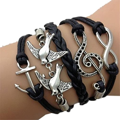 Susenstone® Double Birds Note Charms Leather Wrap Bracelet,Antique Silver Infinity