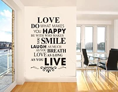 OneHouse Love Do What Makes You Happy Be with Who Makes You Smile Quote Wall Sticker Decal Wallpaper Art from OneHouse