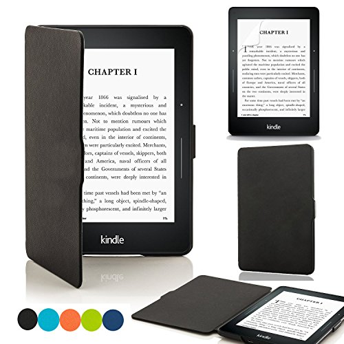 Kindle Voyage enabled smart slime case screen protector with [Auto sleep function: Voyage (black)