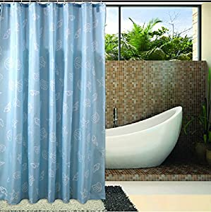 Eforgift Fabric Waterproof Shower Curtains With Hooks Shell Beach Theme 72 Inch By