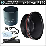 72mm Wide Angle Lens Kit For Nikon Coolpix P510 Digital Camera Includes Necessary Adapter (72mm) + High Definition .43x Wide Angle Lens W/ Macro + LensPen Cleaning Kit + Lens Cap Keeper + Microfiber Cleaning Cloth