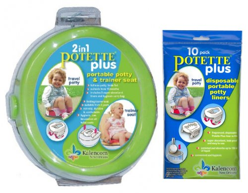 Kalencom 2-in-1 Potette Plus Green with Potty Liner Refills 10 - Pack