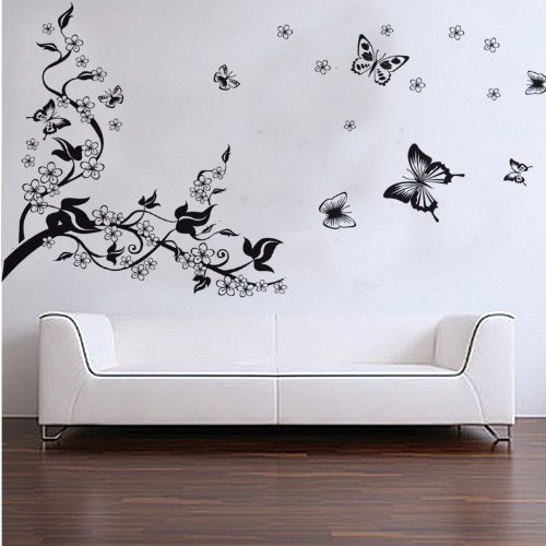Popular Detail Shop Home Removable Recycling Wall Sticker Black Tree Black  Butterfly With White Flowers